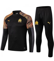 Olympique De Marseille Black Tracksuit Printing Sleeves 2019-2020