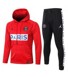 Jordan Paris Saint Germain Red Hoodie Causal Jacket Square Logo 2020-2021
