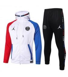 Jordan Paris Saint Germain Red-White-Blue Kids Kit Football Hoodie Jacket Soccer Tracksuit 2020-2021