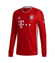 Bayern Munich Home Long Sleeve Soccer Jerseys Mens Football Shirts Uniforms 2020-2021