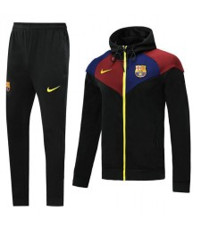 Barcelona Black Hoodie Jacket Kit Yellow Logo 2019-2020