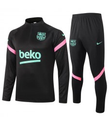 Barcelona Half Zip Black Mens Training Soccer Tracksuit 2020-2021