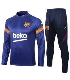 Barcelona Half Zip Blue Mens Training Soccer Tracksuit 2020-2021