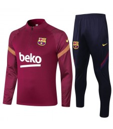 Barcelona Half Zip Red Mens Training Soccer Tracksuit 2020-2021