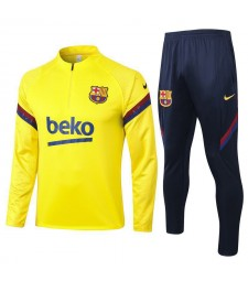 Barcelona Half Zip Yellow Mens Training Soccer Tracksuit 2020-2021