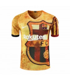 Barcelona Yellow Training Soccer Jerseys Mens Football Shirts 2020-2021