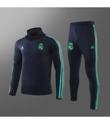 Real Madrid Dark Blue Champions League Mens Soccer Tracksuit Sportwear Green Logo 2019-2020