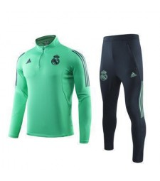 Real Madrid Green Mens Half Zipper Soccer Tracksuit Sportwear Champions League 2019-2020