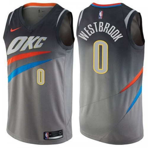 sports shoes 6a1a6 31458 Oklahoma City Thunder Russell Westbrook 0# Jersey Gray 2018/2019