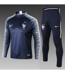 2018 World Cup France Printed Sleeve Royal Blue Tracksuit