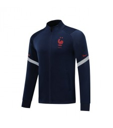 France Dark Blue Soccer Jacket Red Logo 2019-2020