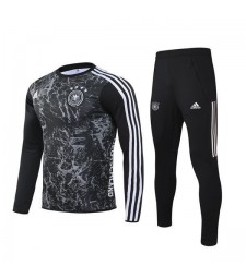 Germany Football Black Gray Printing Round Neck Soccer Mens Tracksuit 2019-2020