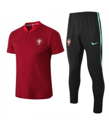 Portugal Men Polo + Pant Kit Red 2018/2019