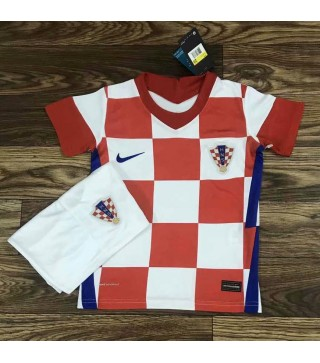 Croatia Home Soccer Jersey Kids Football Kit Youth Uniforms 2020
