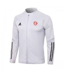 Sport Club Internacional Mens Football White Long Zipper Soccer Jacket 2020-2021