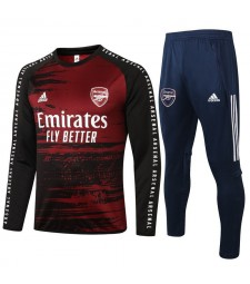 Arsenal Black Red Round Neck Mens Training Soccer Tracksuit 2020-2021