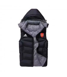 Arsenal Padded Vest Black Sleeveless Full Zip Gilet 2020-2021