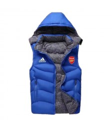 Arsenal Padded Vest Blue Sleeveless Full Zip Gilet 2020-2021