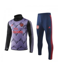 Arsenal Purple Printing High Neck Mens Soccer TRacksuit 2019-2020