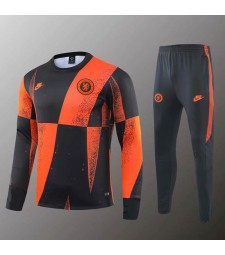 Chelsea Black Orange Round Neck Sweatshirt Tracksuit 2019-2020