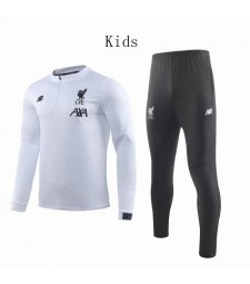Liverpool White Round Neck Kids Soccer Tracksuit 2019-2020