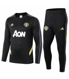 Manchester United Black  Round Neck Tracksui 2019-2020