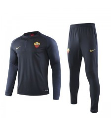 As Roma Dark Blue Mens Half Zipper Soccer Tracksuit Sportwear Print Sleeves 2019-2020