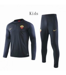 As Roma Dark Blue Round Neck Kids Soccer Tracksuit 2019-2020