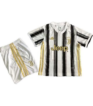 Juventus Home Soccer Jersey Kids Kit First Football Suit 2020-2021