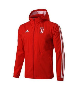 Juventus Red Soccer Windrunner White Logo 2020