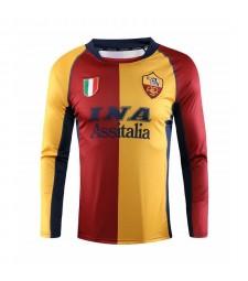 AS Roma Long Sleeve Home Soccer Jerseys Mens Football Shirts Uniforms 2001-2002