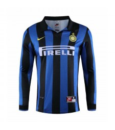 Inter Milan Retro Home Long Sleeve Soccer Jerseys Mens Football Shirts 1998